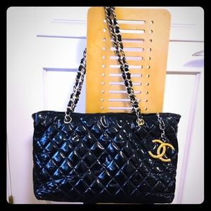 Chanel, authentic, used, patent leather bag.